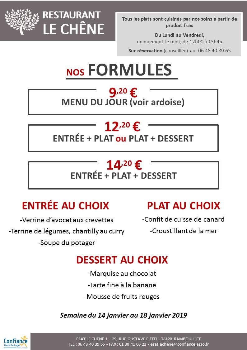 menu CHENE du 14 01 2019 au 18 01 2019