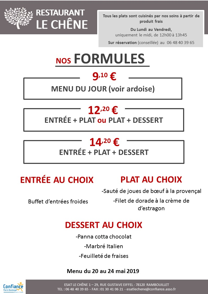 menu CHENE du 20 05 2019 au 24 05 2019