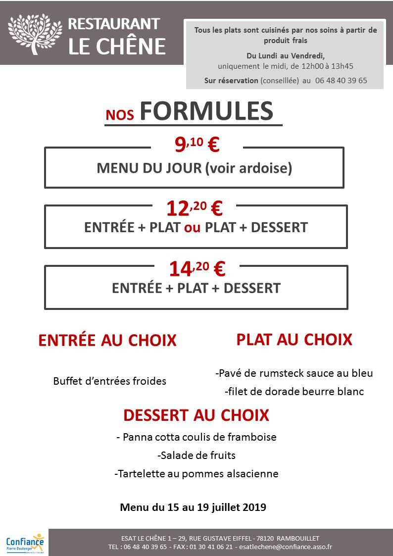 menu CHENE du 15 07 2019 au 19 07 2019