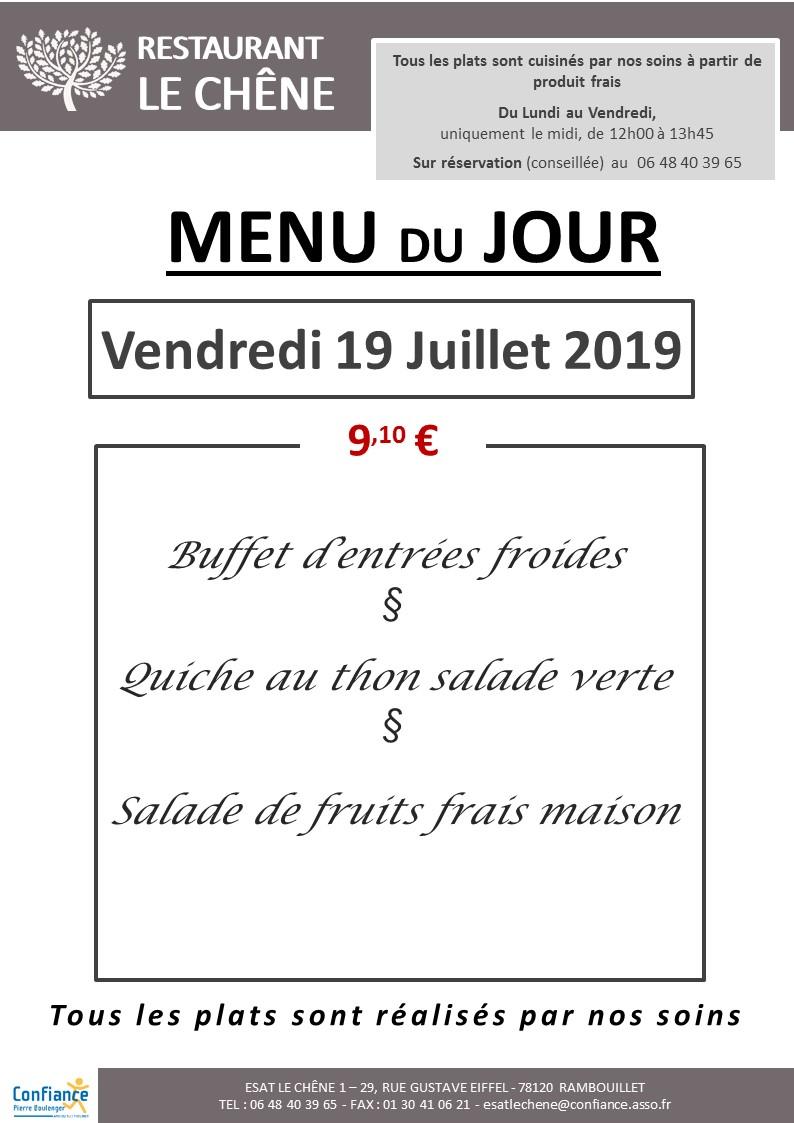 menu du jour 19 07 2019