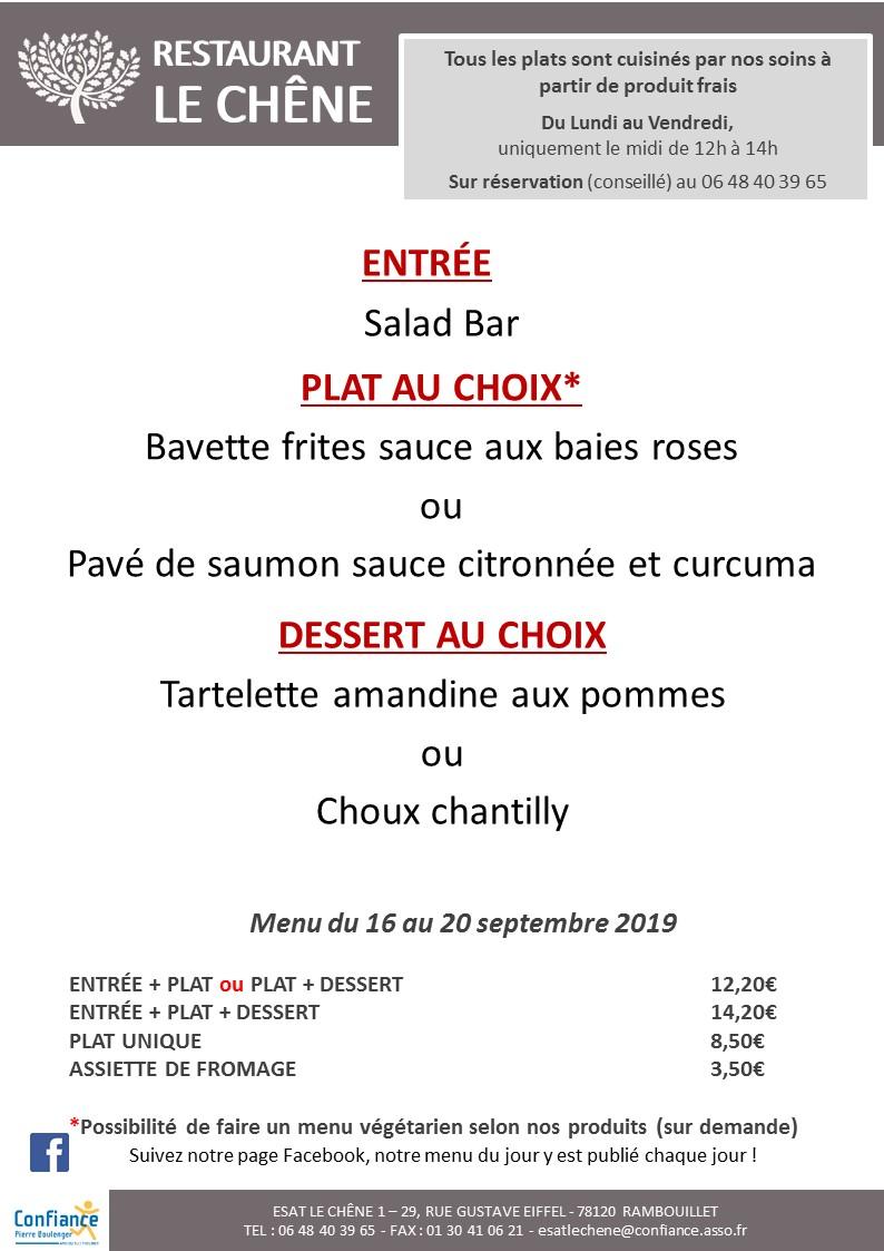 menu CHENE du 16 09 2019 au 20 09 2019