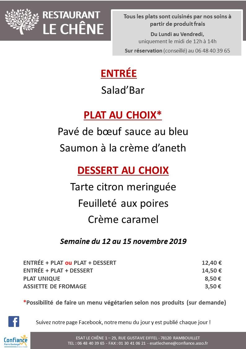 menu CHENE du 12 11 2019 au 15 11 2019