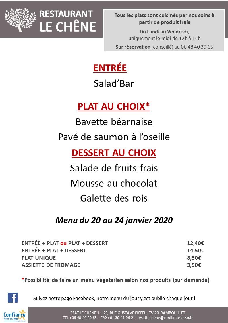menu CHENE du 20 01 2020 au 24 01 2020 V2